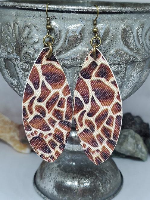 Large Leaf Cut Brown & Tan Giraffe Print Faux Leather