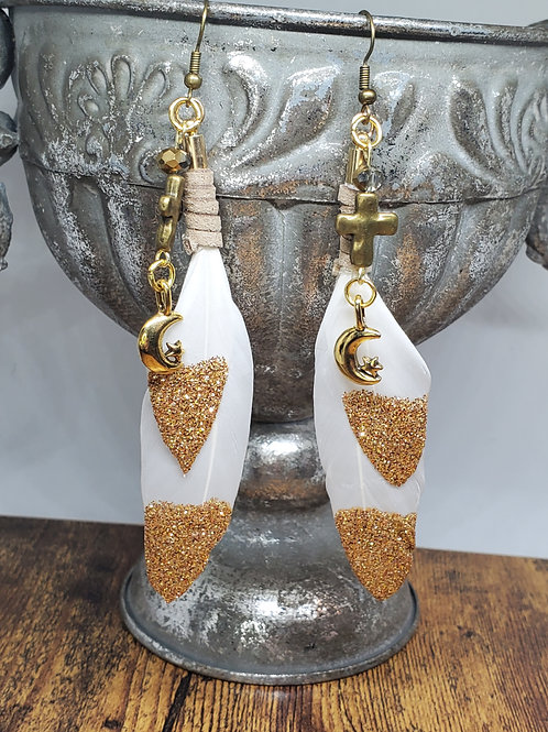 Gold-dipped White Feather w/Cross & Moon Charms
