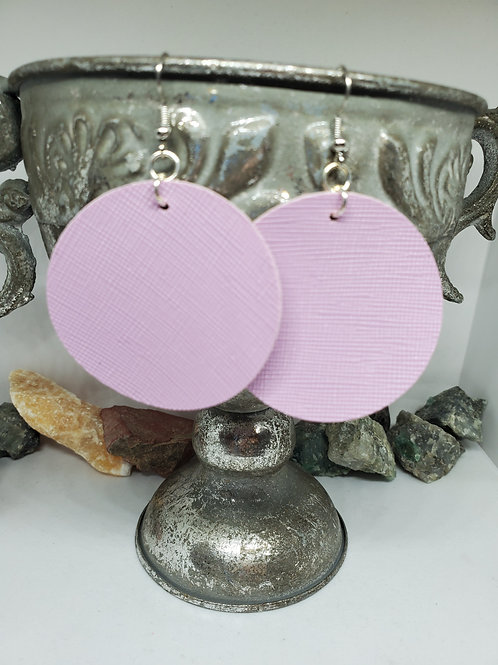 Large Circle Lavender Textured Faux Leather