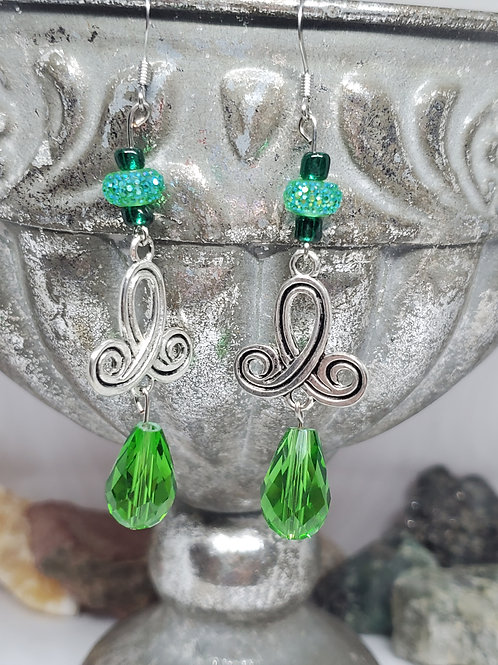Silver Swirl with Green Beads