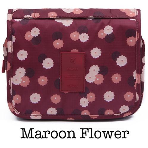 Hanging Toiletry Bag - Maroon Floral