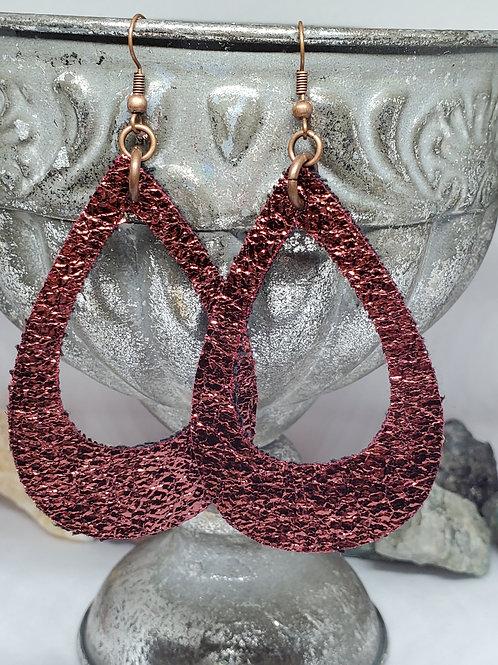 Large Cutout Teardrop Metallic Copper Faux Leather