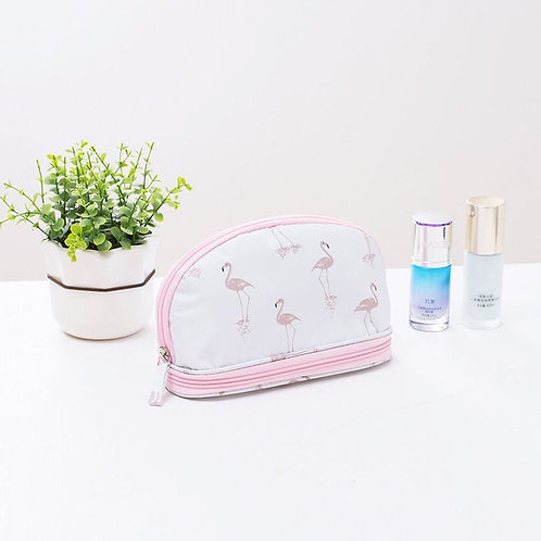 Makeup Bag - White Flamingo