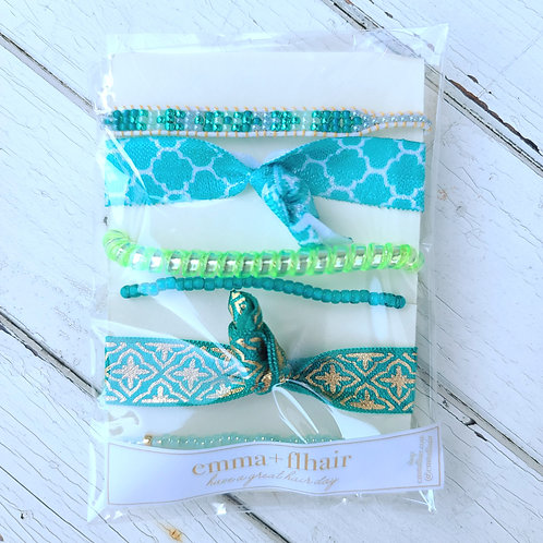 Turquoise Tides - Hair Tie Bracelet Stacks