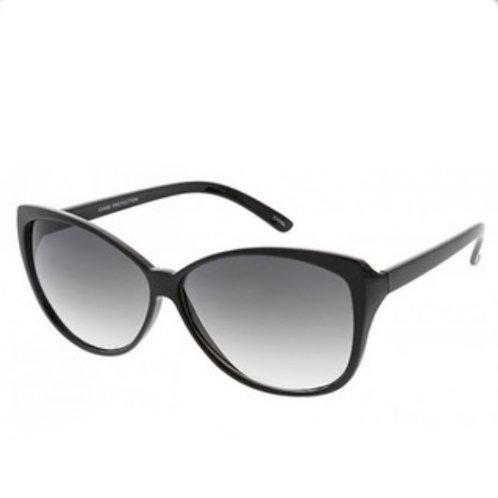 Black Rim Sunnies - Grey Ombre Lens