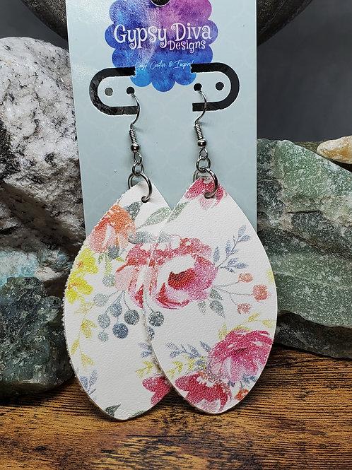 Medium Multicolored Floral Chubby Leaf Genuine Leather Earrings