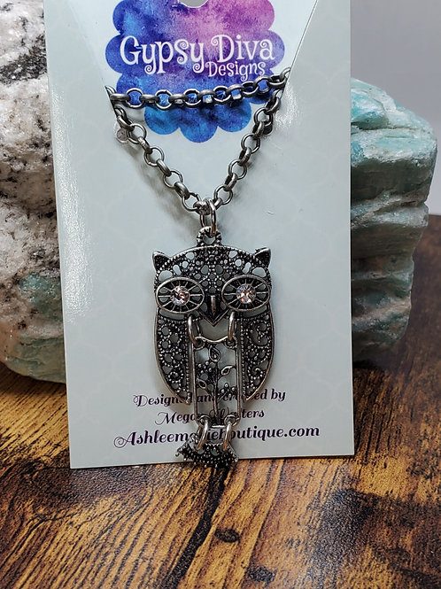 """Antiqued Silver Filigree Owl Pendant on 26"""" Silver Chain"""