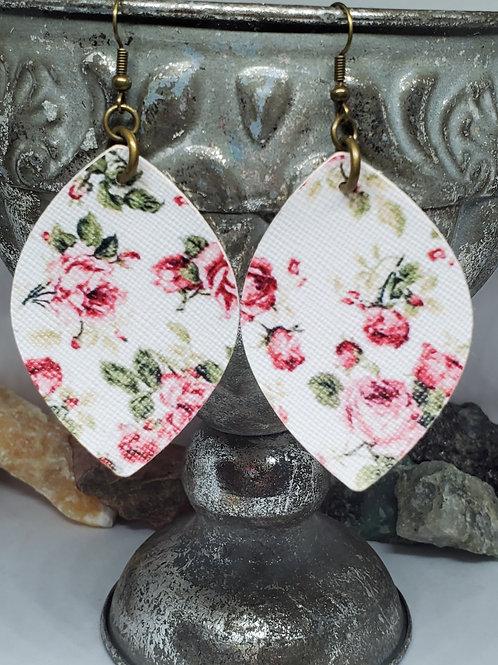 Medium Rounded Diamond Cut Pink & Burgundy Rose Print Faux Leather