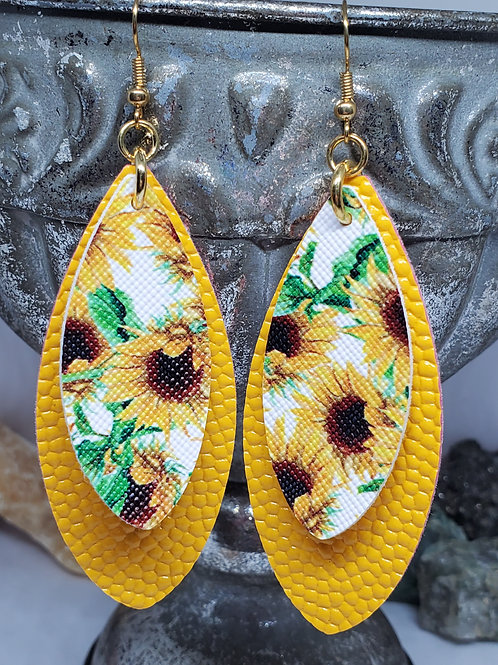 Large Leaf Cut Double Layer Sunflower Yellow & Sunflower Print Faux Leather
