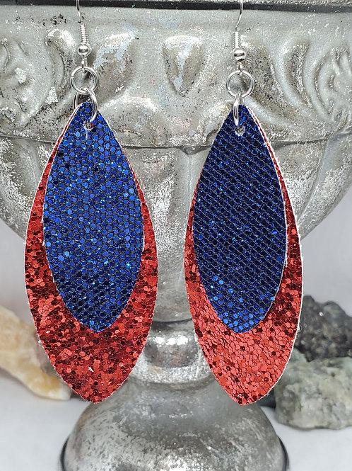 Large Leaf Red & Blue Glitter