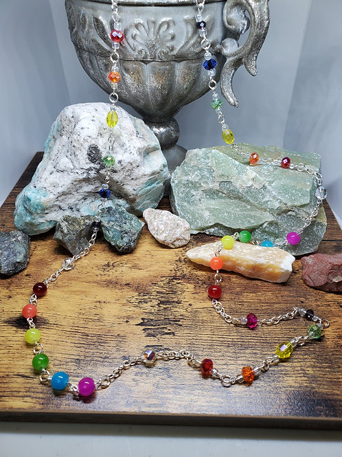 """Rainbow Colors Beaded Necklace w/40"""" Silver Chain"""