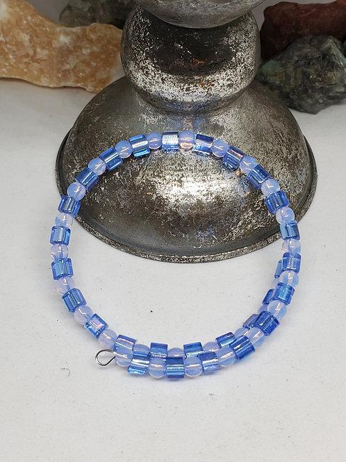 Ligth Blue & Periwinkle Beaded Bracelet