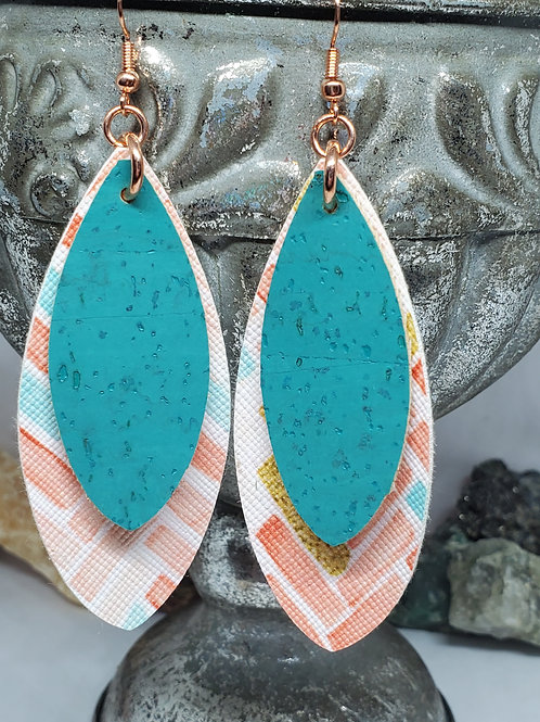 Large Leaf Double Layer Teal, Coral, & Gold Brush Stroke Faux Leather