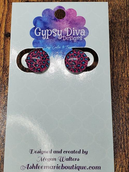 Hot Pink, Blue & Black Leopard Post Earrings