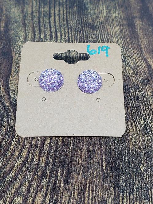 Lavender Druzy Post Earrings