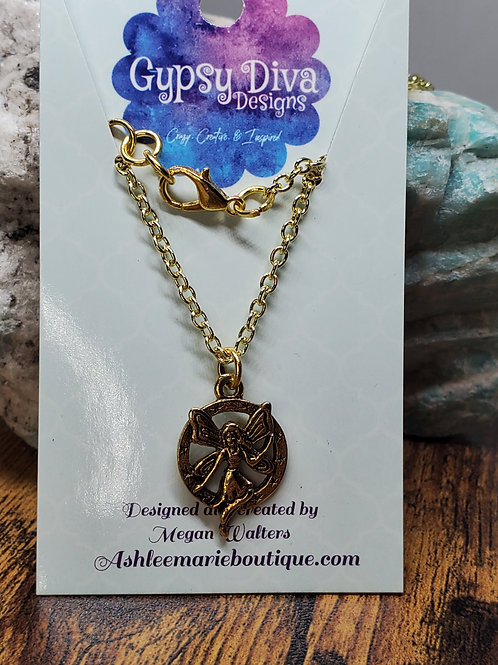 """Gold Fairy Pendant on 17"""" Gold Chain"""