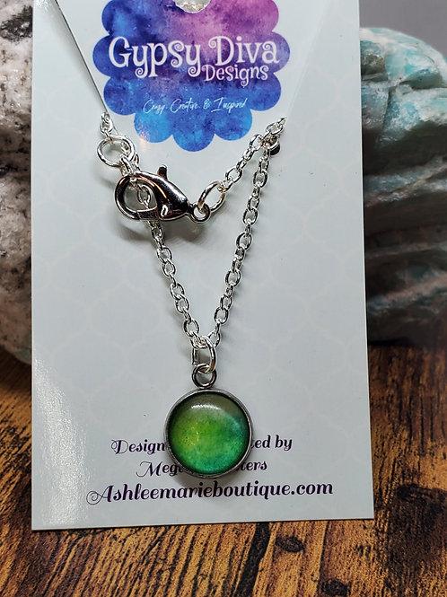 "Light Green Watercolor Pendant on 16"" Silver Chain"