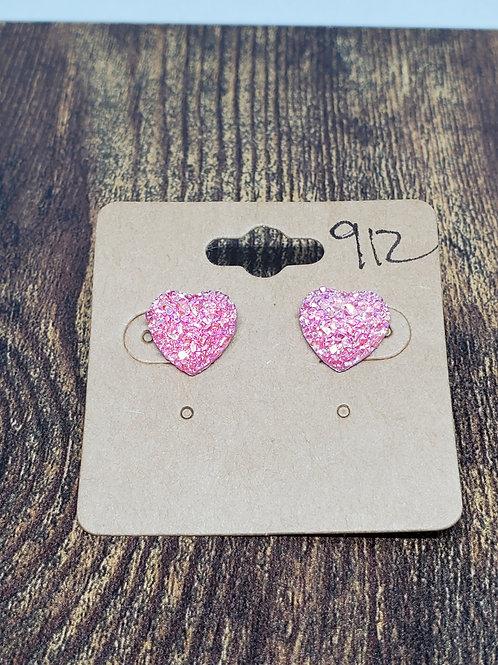 Iridescent Pink Druzy Hearts Posts
