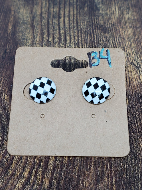 Black & White Diamond Post Earrings