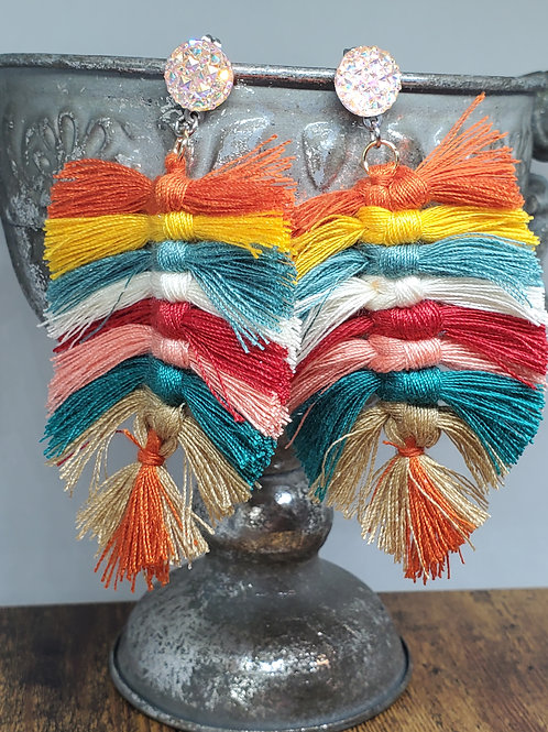 Multicolored Macrame Feathers on Peach Iridescent Druzy Posts