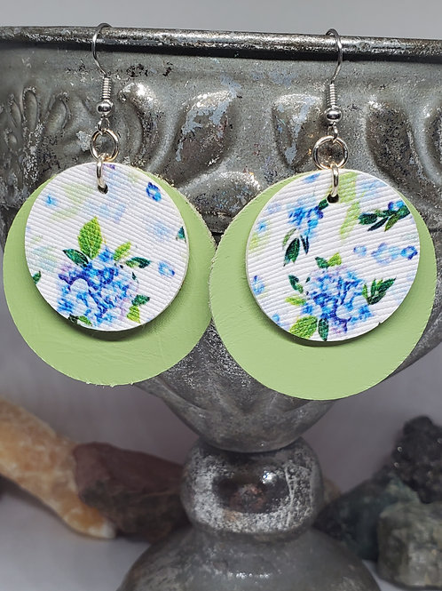 Medium Circles Spring Green Genuine Leather & Blue Floral Faux Leather