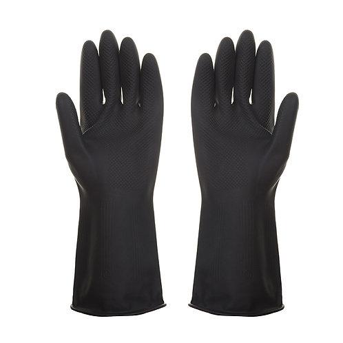 Heavy Duty Industrial Black Rubber Latex Gloves
