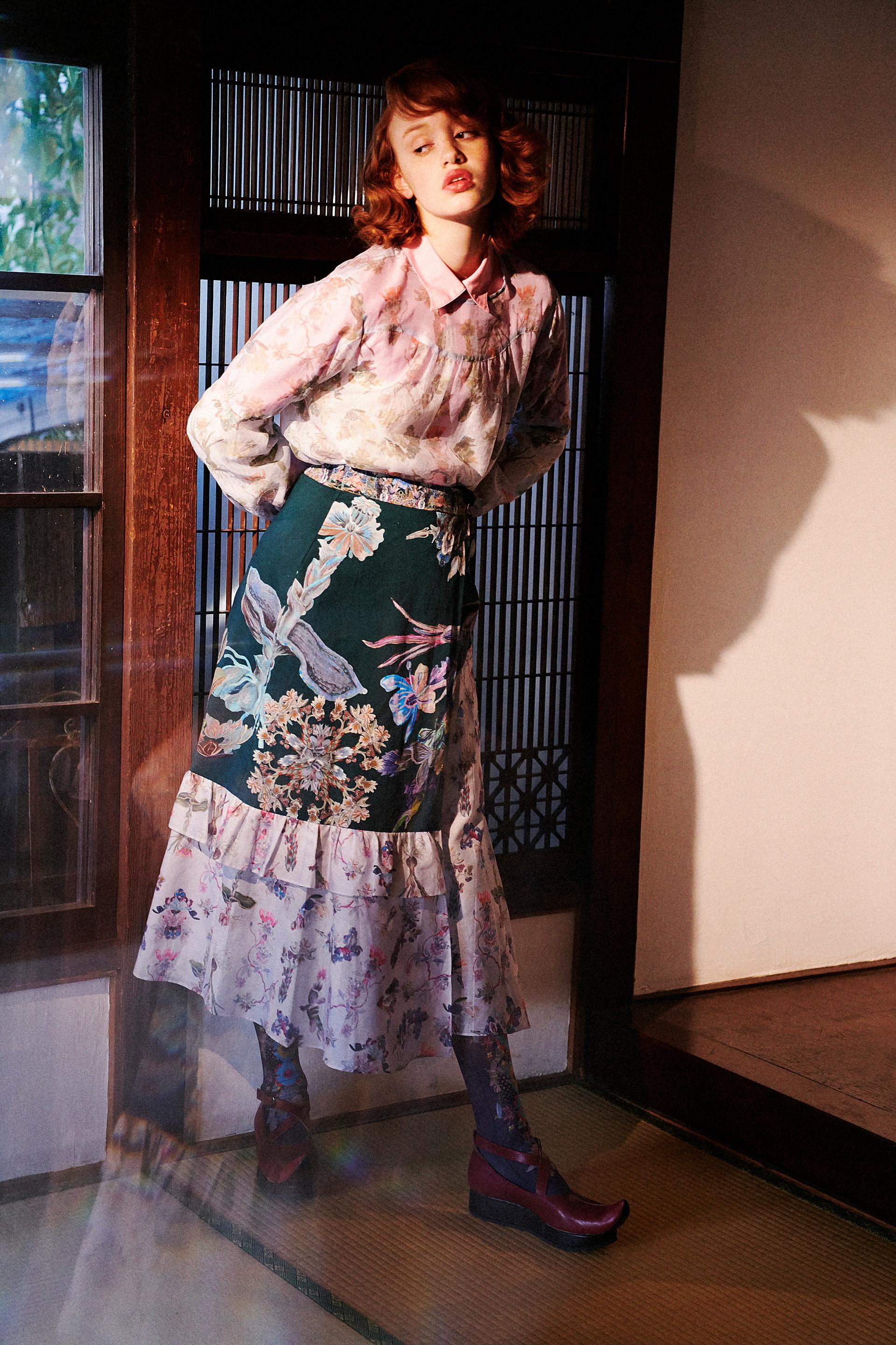 KeikoNishiyama tiered asymmetry skirt