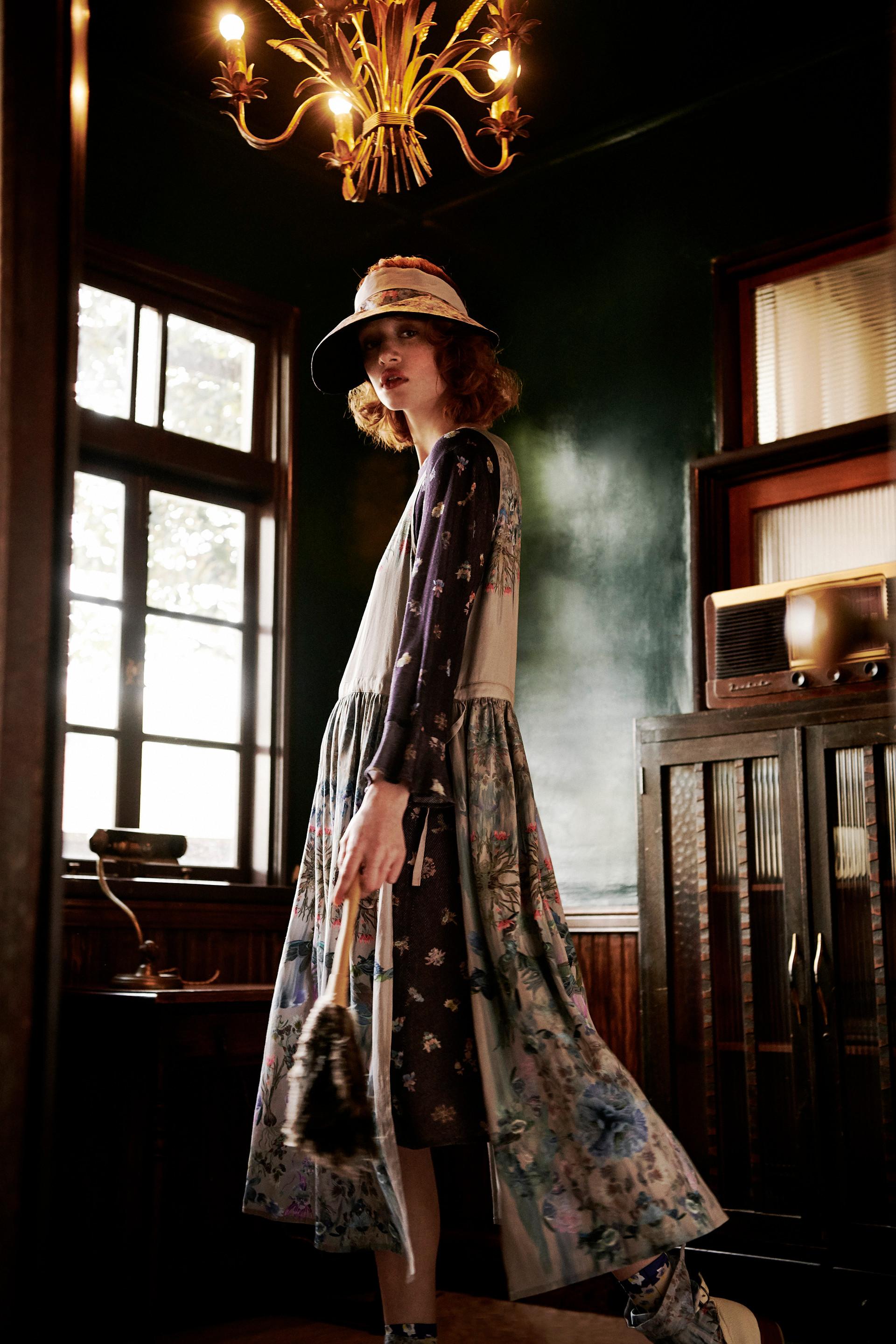 Keiko Nishiyama Dusty pink apron dress