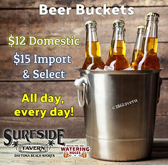 Bucket Beer: $12 Domestic, $15 Import