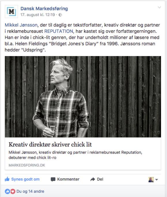 Markedsføring om UDSPRING og Mikkel Jønssonpå facebook
