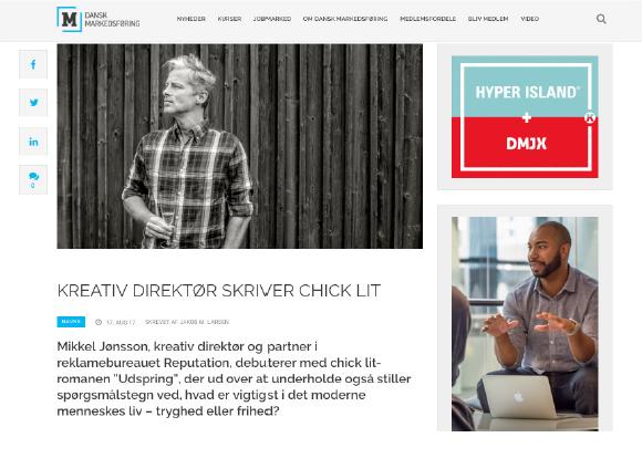 Markedsføring om Mikkel Jønsson og UDSPRING på forsiden