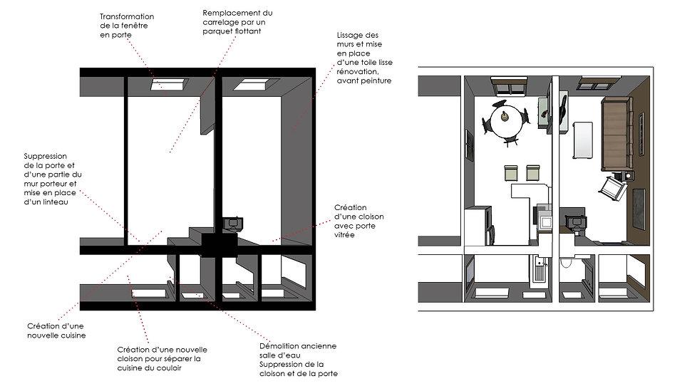 Renovation/ maison plain pied/ Cuisine/ faux plafond/ éclairage/ Maison/ Tendance/ Java decorateur/ Deco/ Architecte d'intérieur
