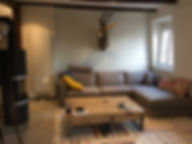 Renovation/Duplex/Colombage/Architecte d'interieur/java decorateurs/Tendance/Habitat/Beton cire/Poêle a bois/Salon