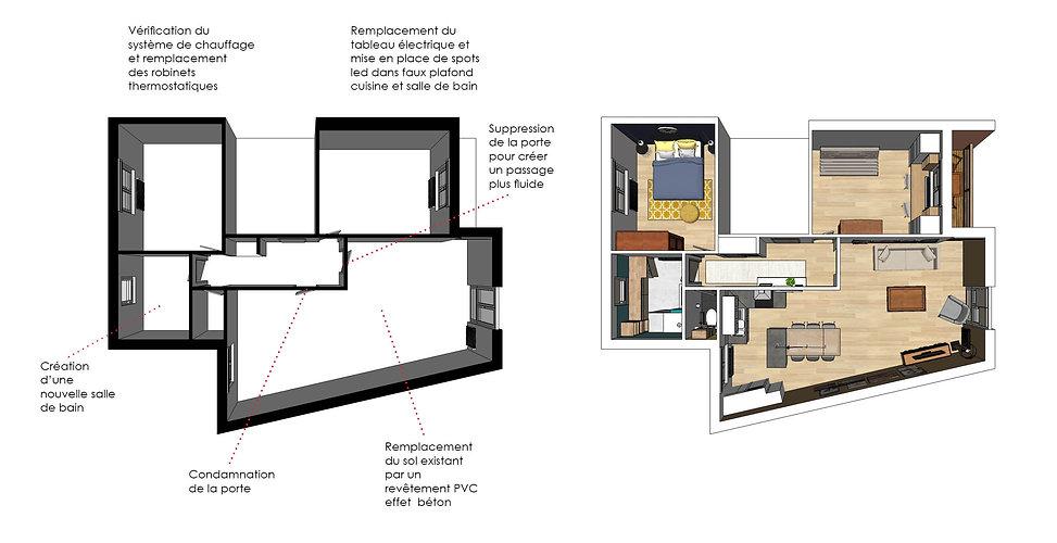 plan 3D d'architecture sur sketchup avant et après