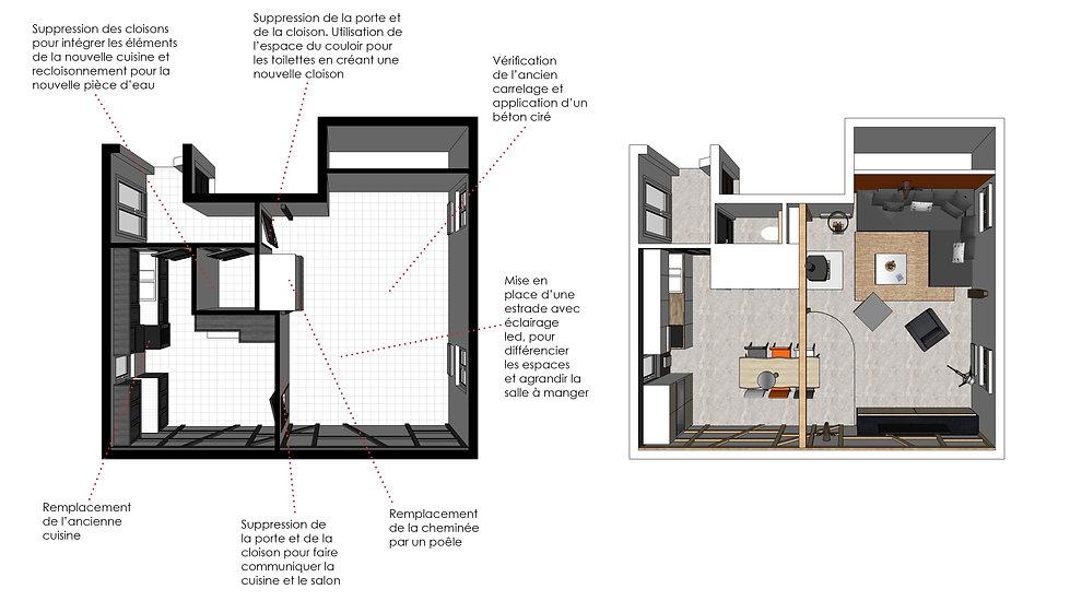 plan d'architecture sur sketchup