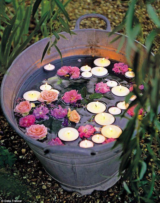 esprit champêtre - bassine fleurs bougies flottantes