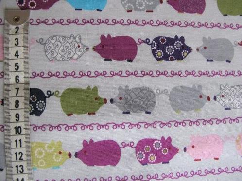 Lys grå bund m. grise i flere farver