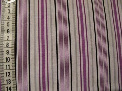 Hvid bund m. striber i lilla sort og pink