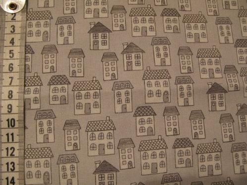 Lys grå bund med små huse