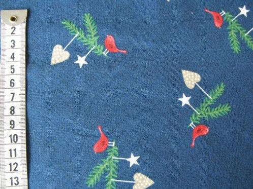 Blå bund m. grangren - fugl og julepynt