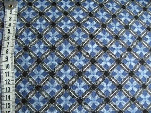 Blå bund m. mønster i tern i sort og blå