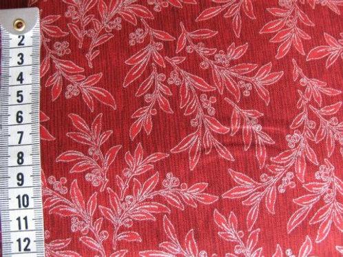 Rød stribet bund m. sølv blomster mønster
