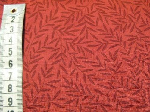 Mørk rød bund m.blad mønster i sort