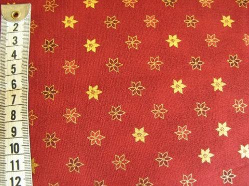 Rød bund med juleblomster i guld og røde farver