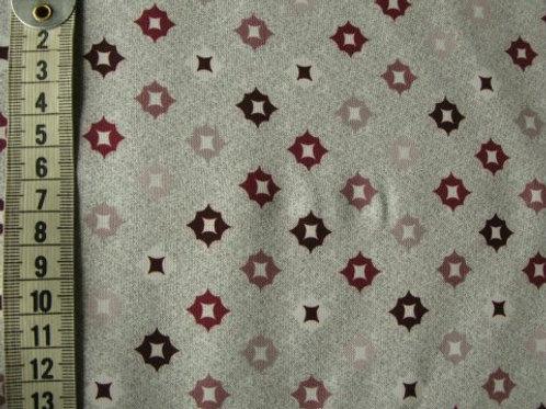 Lys grå bund med mønster i blomme/rosa /wine røde farver