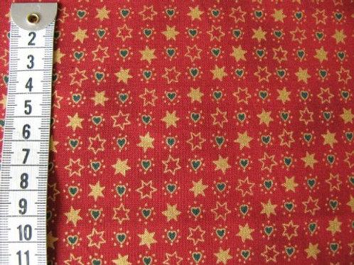 Rød bund m. mønster i guld- grøn - rød