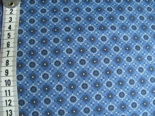 Blå bund m mønster i sort og lys gå