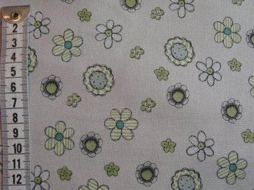 Kit farvet bund m. blomster i grøn - tyrkisblå og hvid