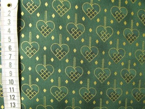 Grøn bund med guld flettede julehjerter