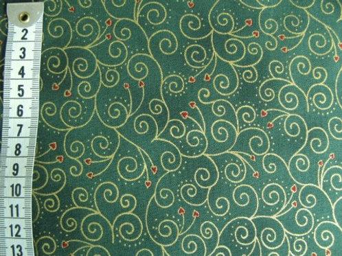 Grøn m. guld mønster og små røde hjerter